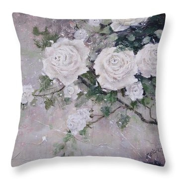 Smell The Roses  Throw Pillow by Laura Lee Zanghetti