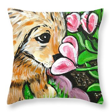 Smelling The Flowers Throw Pillow