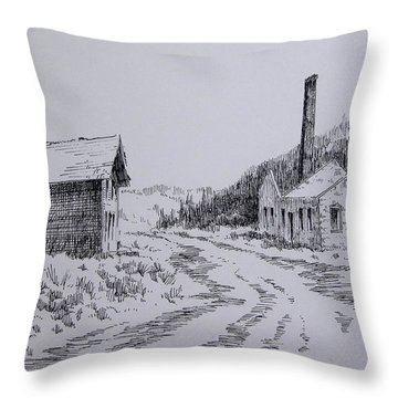 Smelter Ruins Glendale Ghost Town Montana Throw Pillow by Kevin Heaney