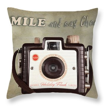 Smile And Say Cheese Throw Pillow