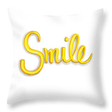 Throw Pillow featuring the drawing Smile by Cindy Garber Iverson