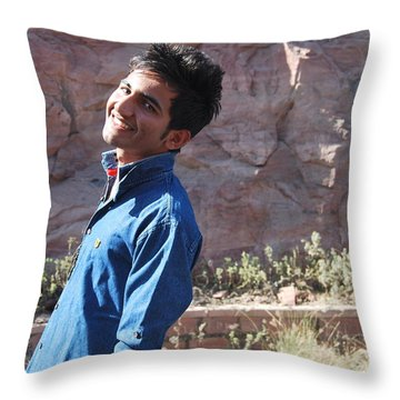 Smile Forever....... Throw Pillow by Madhusudan Bishnoi