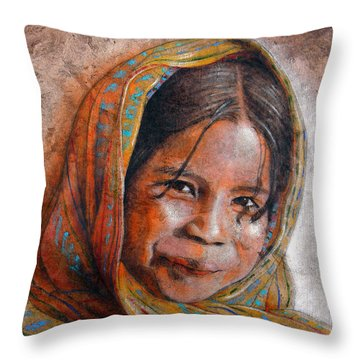 Smile Throw Pillow by J- J- Espinoza
