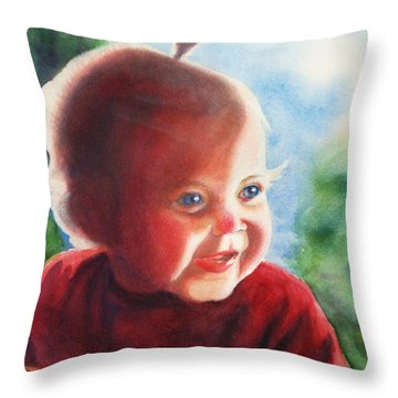 Smile Throw Pillow by Marilyn Jacobson