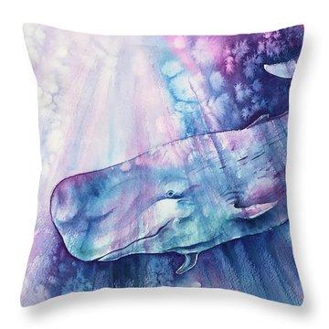 Throw Pillow featuring the painting Smile Of Cachalot by Zaira Dzhaubaeva