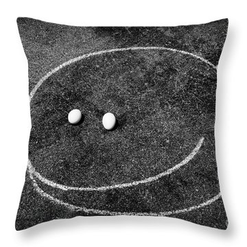 Smiley - Chalk N Eggs Throw Pillow by Aimelle
