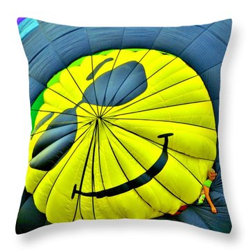 Smiley Face Balloon Throw Pillow