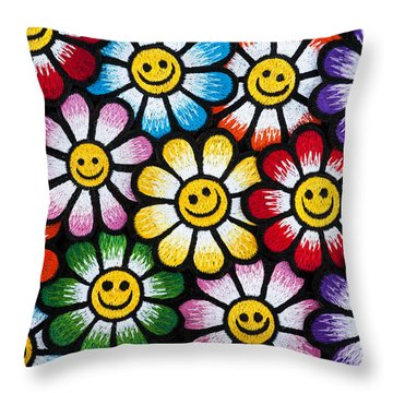 Smiley Flower Faces Throw Pillow