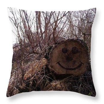 Smiley Log Throw Pillow by Anna Villarreal Garbis