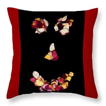 Smiley Rose Throw Pillow
