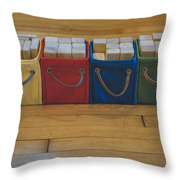 Smiling Block Bins Throw Pillow