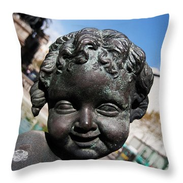 Smiling Cherub Throw Pillow