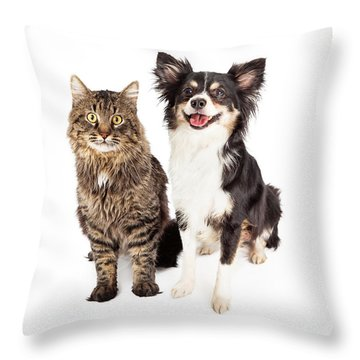 Smiling Chihuahua Mixed Breed Dog And Cat Together Throw Pillow