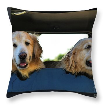 Smiling Dogs Throw Pillow