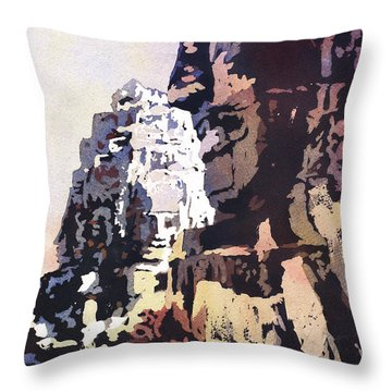 Throw Pillow featuring the painting Smiling Faces- Bayon Temple, Cambodia by Ryan Fox