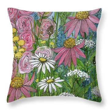 Smiling Flowers Throw Pillow