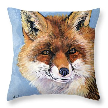 Smiling Fox Throw Pillow