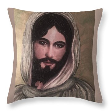 Smiling Jesus Throw Pillow by Cena Caterine