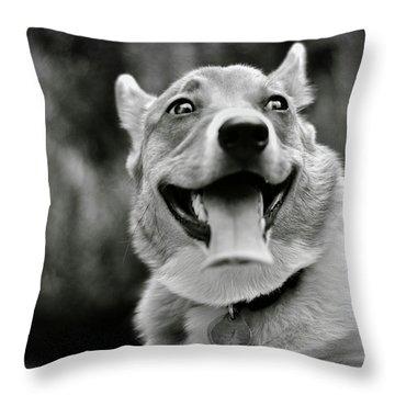 Smiling Pembroke Welsh Corgi Throw Pillow by Rebecca Sherman
