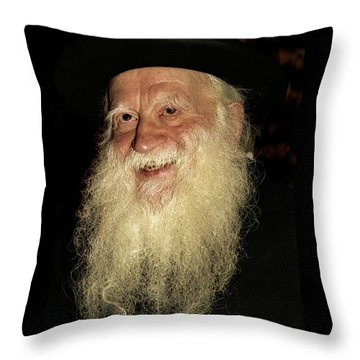Throw Pillow featuring the photograph Smiling Picture Of Rabbi Yehuda Zev Segal by Doc Braham