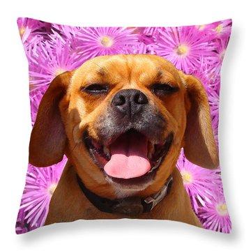 Smiling Pug Throw Pillow