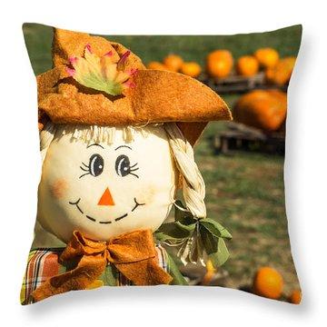 Smiling Scarecrow With Pumpkins Throw Pillow