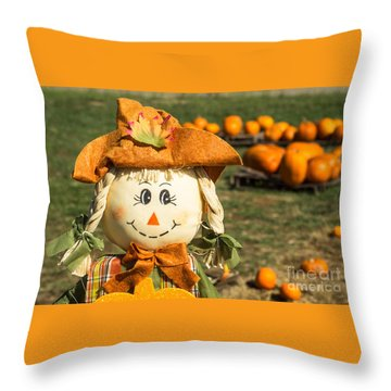 Smiling Scarecrow With Pumpkins Throw Pillow