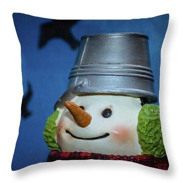 Smiling Snowman Throw Pillow