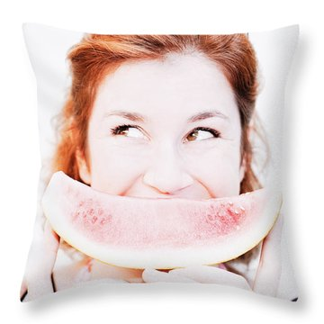 Smiling Summer Snack Throw Pillow by Jorgo Photography - Wall Art Gallery