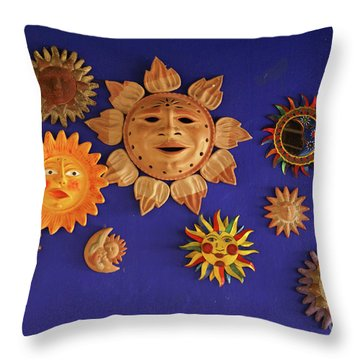 Smiling Suns Or Sols Mexico Throw Pillow