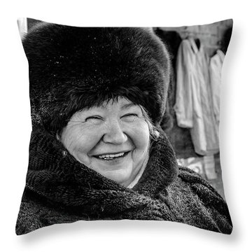 Throw Pillow featuring the photograph Smiling Woman With Squinting Eyes by John Williams