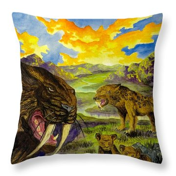Smilodon Throw Pillow