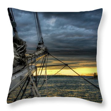 Smith Cove Sunset Throw Pillow by Fred LeBlanc