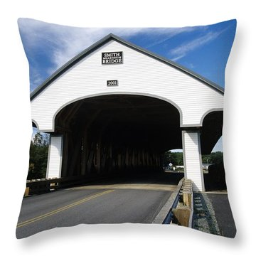 Smith Covered Bridge - Plymouth New Hampshire Usa Throw Pillow