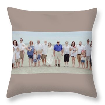 Smith Family At The Beach Throw Pillow