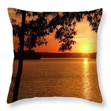 Smith Mountain Lake Silhouette Sunset Throw Pillow