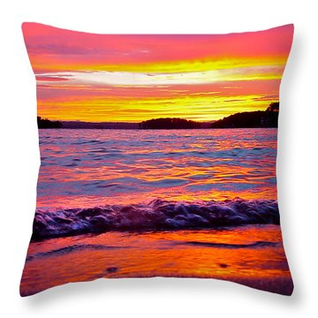 Smith Mountain Lake Surreal Sunset Throw Pillow
