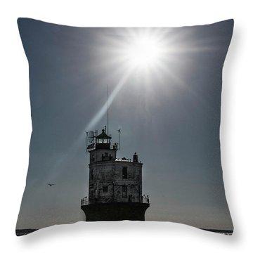 Smith Point Lighthouse Throw Pillow