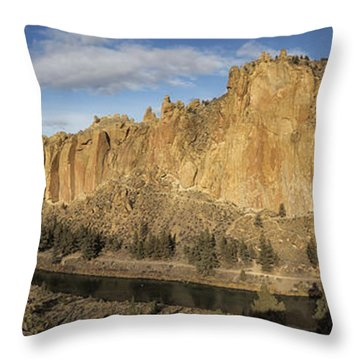 Smith Rock And Crooked River Panorama Throw Pillow