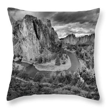 Smith Rock Black And White Panorama Throw Pillow