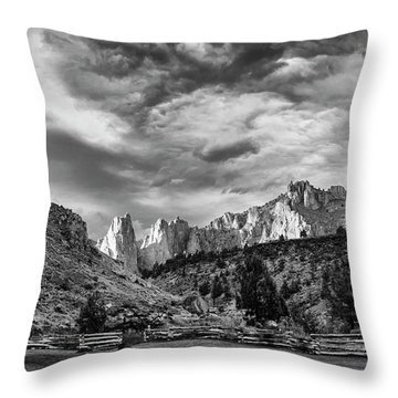 Smith Rock Bw Throw Pillow