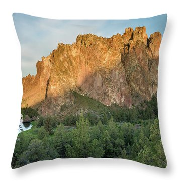 Smith Rock First Light Throw Pillow by Greg Nyquist