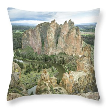 Throw Pillow featuring the photograph Smith Rock From Misery Ridge by Tim Newton