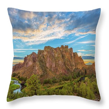 Smith Rock Throw Pillow by Patricia Davidson