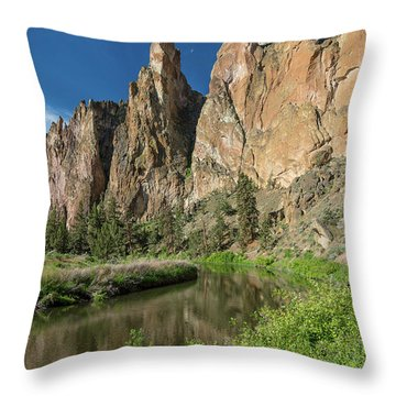 Smith Rock Spires Throw Pillow by Greg Nyquist