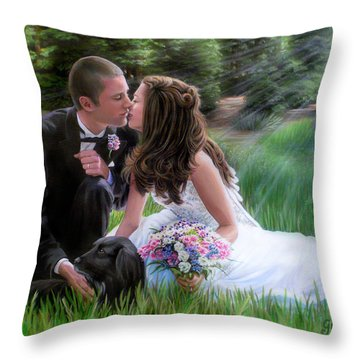 Throw Pillow featuring the painting Smith Wedding Portrait by Jane Girardot