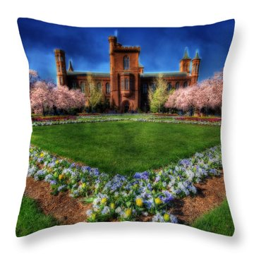 Spring Blooms In The Smithsonian Castle Garden Throw Pillow