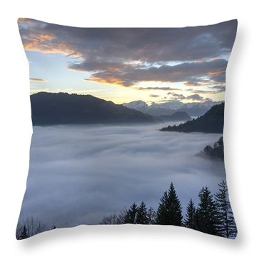 Smoke In The Valley Fire In The Sky Throw Pillow