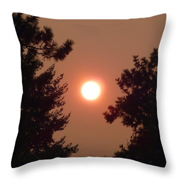 Throw Pillow featuring the photograph Smoke Shrouded Sun   by Will Borden