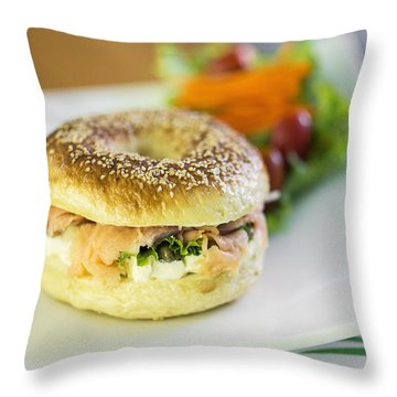 Smoked Salmon And Cream Cheese Bagel Throw Pillow